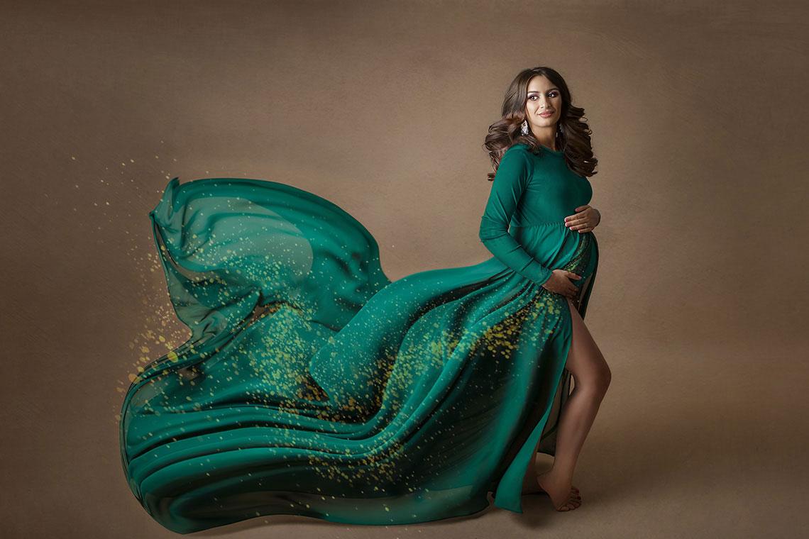 sedinta foto maternitate rochie verde